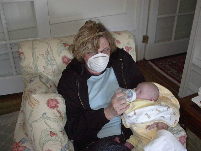 Mom and my daughter - although sick with only a cold at that point, nothing would stop her from helping out.