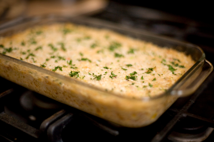 Crab dip fresh from the oven.