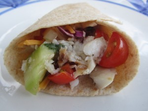 Secret Recipe Club: Fish Tacos w/Tomato Cucumber Salsa