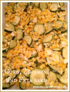 Corn, Zucchini and Feta Bake