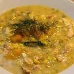Salmon Butternut Squash Corn Chowder
