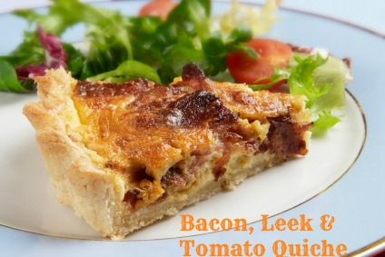 bacon, leek & tomato quiche
