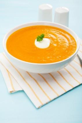Pumpkin Soup Sweet Potato Carrot Copy Space Above Below Vertical