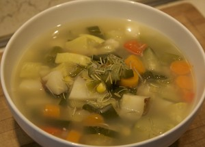 Spring Vegetable Soup with Garlic Broth