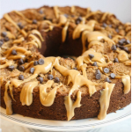 Peanut Butter Cake with Peanut Butter Drizzle