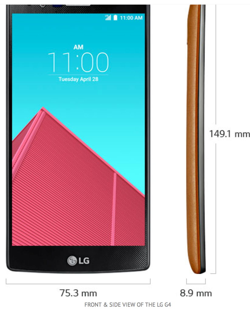 front and side of LG G4