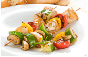 Scallion Chicken and Vegetable Kabobs