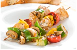 Scallion Chicken and Vegetable Kabobs