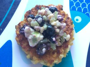 Corn Cakes with Blueberry and Tomatillo Salsa